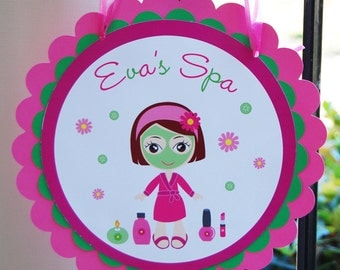 Spa birthday Door Sign Spa Birthday Party Door Sign  Glamour Party