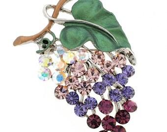 Amethyst Purple Grape Fruit Swarovski Crystal Brooch Pin 1010542