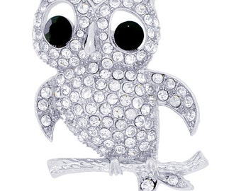 Silver Crystal Owl Bird Pin Brooch 1000421