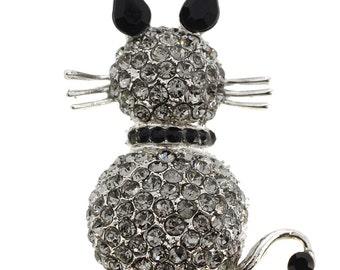Black Cat Kitty Crystal Pin Brooch 1003402