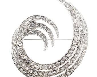 Silver Crystal Swirl Design Pin Brooch 1000201