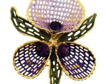 Purple Orchid Swarovski Crystal Flower PIn Brooch 1011121