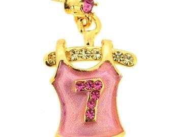 Pink Tank Top Swarovski Crystal Tag Pin 1012011