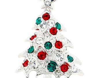Multicolor Christmas Tree Swarovski Crystal Lapel Pin 1012633