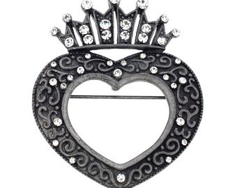 Vintage Style Black Crown Heart Pin Brooch And Pendant 1003951