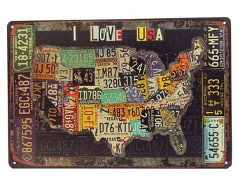 The Map of American Retro Metal Tin Sign 7000032