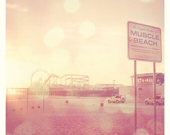 Muscle Beach photograph, Santa Monica California, LA photography, ferris wheel photo, as seen on Modern Family, pink peach sunset art print