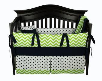 SALE! ANTHONY 5 pc Baby Boy Crib Bedding Set | Green Chevron and Navy Polka Dots