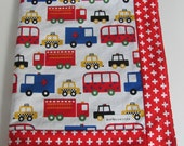 READY TO SHIP - Ready Set Go 2 Ann Kelle car and truck fabric with Blue minky dot Stroller Crib Blanket
