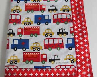 READY TO SHIP - Ready Set Go 2 Ann Kelle car and truck fabric with Blue minky dot Stroller Crib Blanket