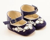 Baby Girl Shoes, Baby Booties, Baby Shoes, Crib Shoes, Blue Baby Shoes, from blue leather and crystals by Vibys