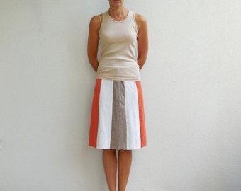 T-Shirt Skirt Tee Skirt Women's Skirt Brown Cream Rust Earth Tones Knee Length Cotton Soft Handmade Spring Summer ohzie
