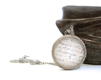 Love Letter Necklace, Glass Dome Necklace, Authentic Vintage Script Pendant, Crochet Linen Pendant