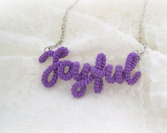 Joyful Necklace, Joyful Word Pendant, Inspirational, Positive, Purple Necklace, One Word Mantra, Word Jewelry