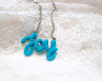 Joy Necklace, Joy Word Pendant, Inspirational, Personalized, Hand Written Jewelry, Aqua Blue Necklace, Gift for Her