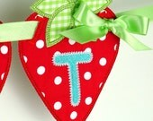"""Strawberry Banner In The Hoop Project Machine Embroidery Designs Applique Patterns in 5 sizes 4"""", 5"""", 6"""", 7"""" and 8"""""""
