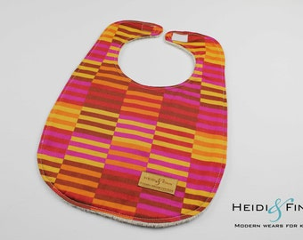 baby bib Organic Marimekko pink red gold  ready to ship only 2 available