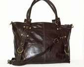 "Distressed Dark Brown Leather Tote Bag Handbag Cross-body Purse Nora L fits a 15"" laptop"