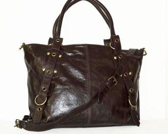 "Distressed Dark Brown Leather Tote Bag Handbag Cross-body Purse Nora L fits a 15"" laptop"