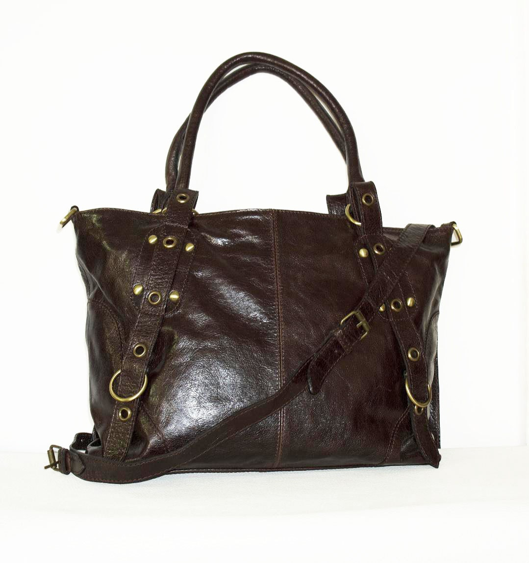distressed brown leather tote bag handbag by chicleather