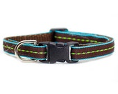 "Cat Collar - ""The Associate"" - Green Stitching on Brown and Teal"
