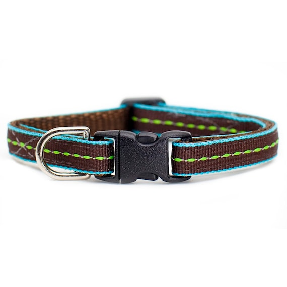 """Cat Collar - """"The Associate"""" - Green Stitching on Brown and Teal"""