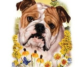 Bulldog Flowers and Butterfly White Quality T Shirt Womens Sizes Free Shipping to USA