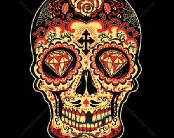 Womans Black Tank Top Day of the Dead Red Sugar Skull T Shirt  17343