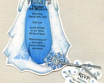 Personalized - Frozen - Elsa - Dress - Birthday - Party - Invitations - Winter - Ice - Snowflake - Party Invitation- Handcut - Set of 16