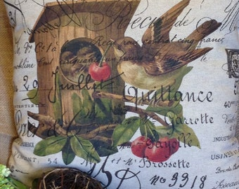 Pillow cover French Script  Birds and Cherries  by Gathered Comforts