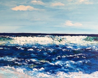 Ocean Seascape Beach Landscape Original Acrylic Abstract Painting Commission. Ships in 5 business days.