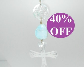 NOW 40% OFF - Mother of Pearl Cross with Larimar Polished Nuggets and Gold Filled Chain Necklace