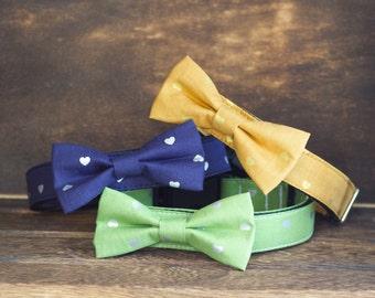 Metallic Hearts collar and bowtie, Designer dog collars, Bow Tie, Dog and Cat Collar, Bow Tie Dog Wedding- Dog Collar, Wedding Dog Collar