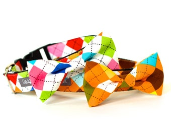 Argyle collection, Dog Bow tie Collar Bow Tie Dog Wedding- Dog Collar, Wedding Dog Collar