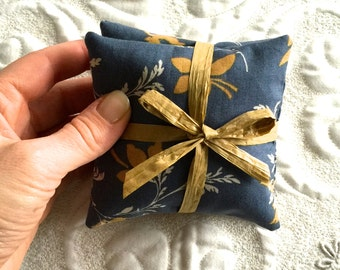 Organic Balsam Fir Pillow -Balsam Sachets with Blue Floral Cotton-  Modern Eco friendly Aroma for Home Decor - Organic Lavender sachet
