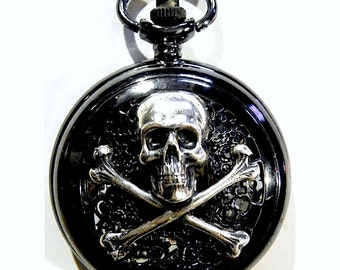 Steampunk Black and Silver Pocket Watch Necklace Skull Crossbones and  tempus fugit Time Flies Wings