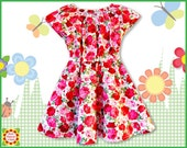 Flared Peasant DRESS PATTERN for Girls + Free Mother-Daughter Apron Pattern, 6m-12y, Children's Sewing Patte for Baby,Toddler,Kids, PDF