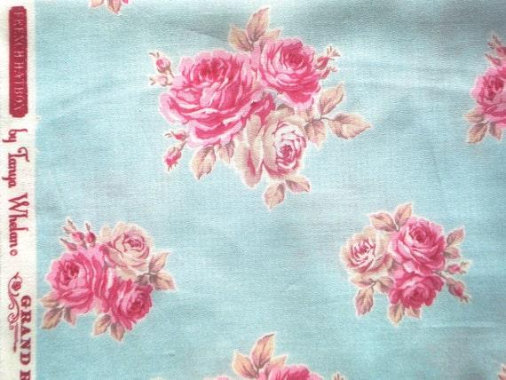 Super SALE : French Hatbox Tanya Whelan trirose blue Free Spirit fabrics  FQ or more Yardage