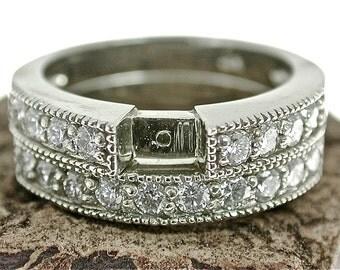 Diamond Wedding Set Ring, 2 Ring Set. Diamond Wedding Ring Set White Gold, Matching Wedding Set, Diamond Engagement Semi Mount Set