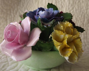 Vintage Denton English Bone China England Flowers Figurine