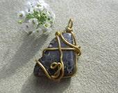 Turritella Agate Pendant, Healing Stones, Wire Wrapped, Copper, Natural Gemstone Synergy, Turritella Fossil Stone, Goodness Jewelry