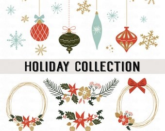 HOLIDAY COLLECTION // PNG Files // Wreaths - Banners - Bows - Snowflakes - Reindeer - Ornaments // Winter Theme Clip Art // Instant Download