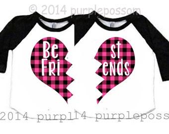 Best Friend Kids Shirts Pink Buffalo Plaid Custom Best Friend Shirts 2 Kids Shirts Raglan Best Friend Raglan Best Friend kid shirt BFF shirt