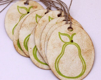 Pear Gift Tags (Double Layered) - Vintage Inspired Pear Tags  - Set of 8