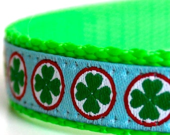 Tiny Shamrocks Dog Collar, 5/8 inch width Pet Colla, Adjustable Dog Collar, St. Patrick's Day Dog Collar