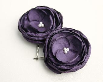 Dark Purple Flower Hair Pieces, Purple Flower Hair Clip, Floral Hair Piece, Bridal Headpieces, Flower Girl Hair Pins, Flower Hairpieces