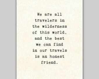 Friends Quote Print, inspirational typewriter typography, Robert Louis Stevenson