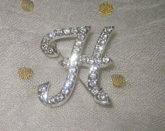 Vintage High Sparkle Rhinestone Letter H in Script Silver Tone Setting Marked AVON SH