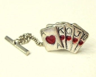 Poker Tie Tack,Full House of Hearts,Men's Women's,Card Tie Tack,Unisex,Steampunk,Formal Wear,Hand of CardsTie Tack