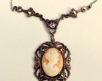 Hand Carved Conch Shell Cameo, Neo Victorian Necklace, Victorian Cameo, Marcasite Crystals, Sterling Silver Necklace, Edwardian Fantasy